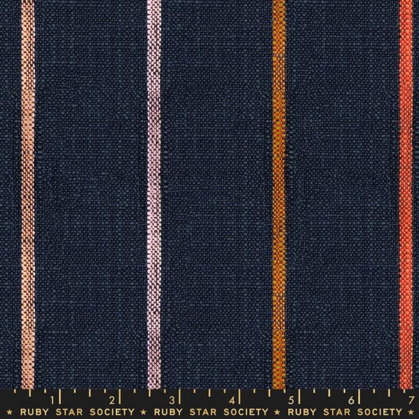 Navy stripe woven cotton fabric - Ruby Star Society Wovens