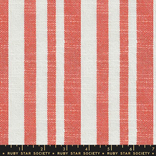 Coral cream stripe woven fabric - Persimmon Warp Weft fabric