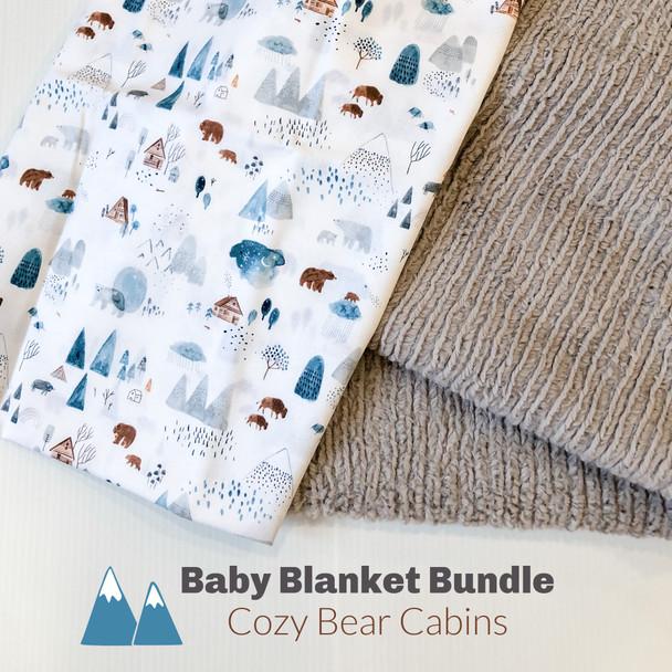 Cozy Bear Cabins baby blanket bundle - DIY cuddle baby toddler blanket bundle