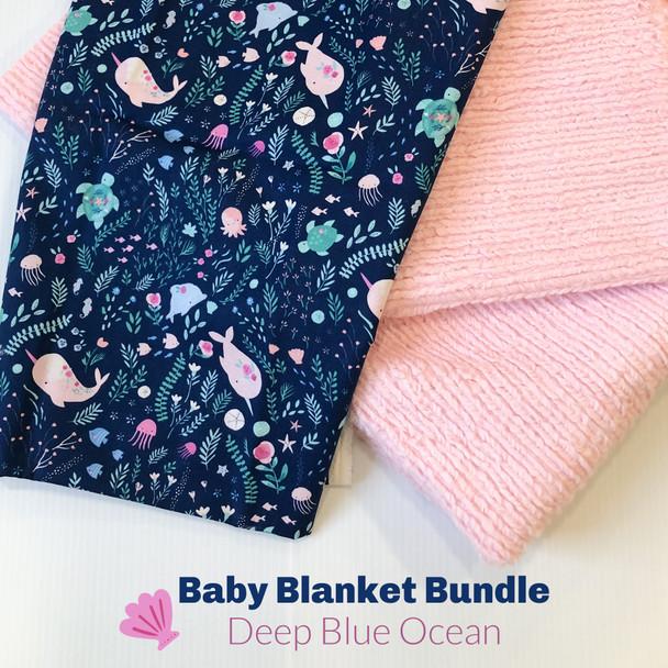 Deep Blue Ocean baby blanket bundle - DIY cuddle baby toddler blanket bundle