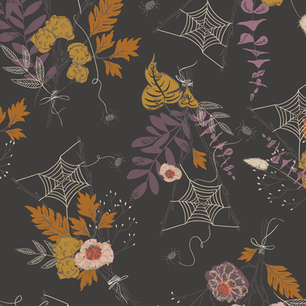 Spooky Web Floral halloween fabric - AGF Cast a Spell cotton