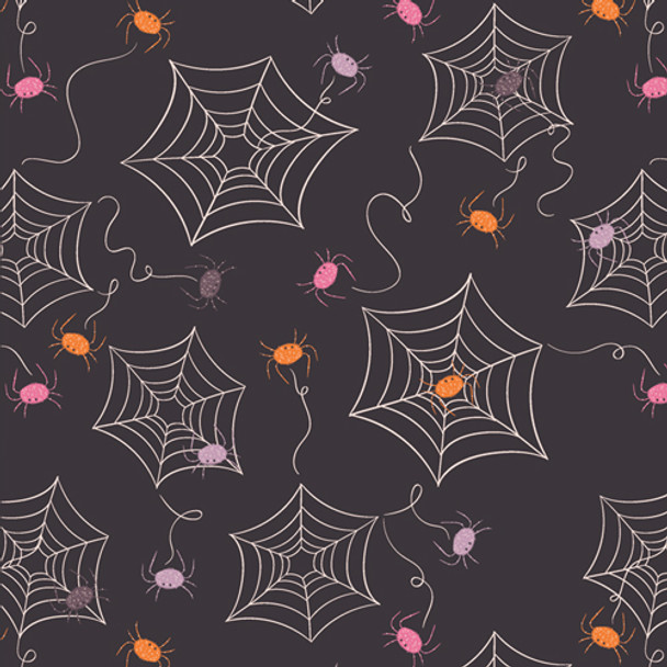 Black Spider Web fabric - Creeping It Real Art Gallery quilt cotton