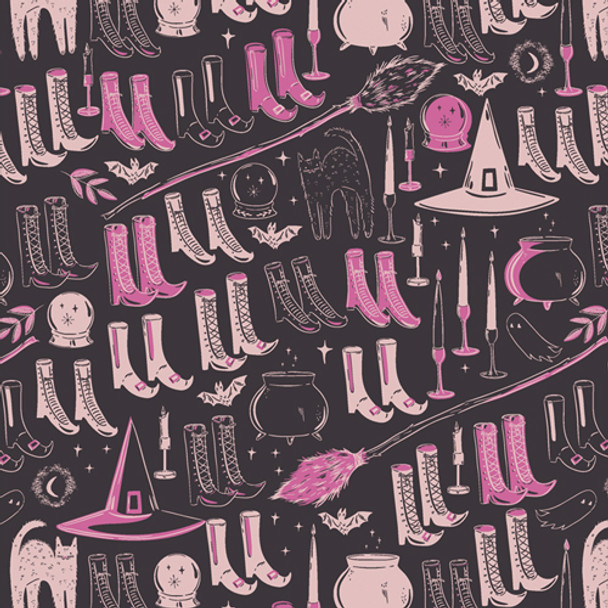Pink Witch's Wardrobe halloween fabric - Spooky n Sweet AGF cotton