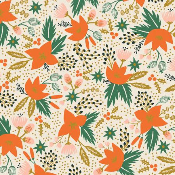 Poinsettia Holiday cream metallic floral fabric - Rifle Paper Co quilting cotton