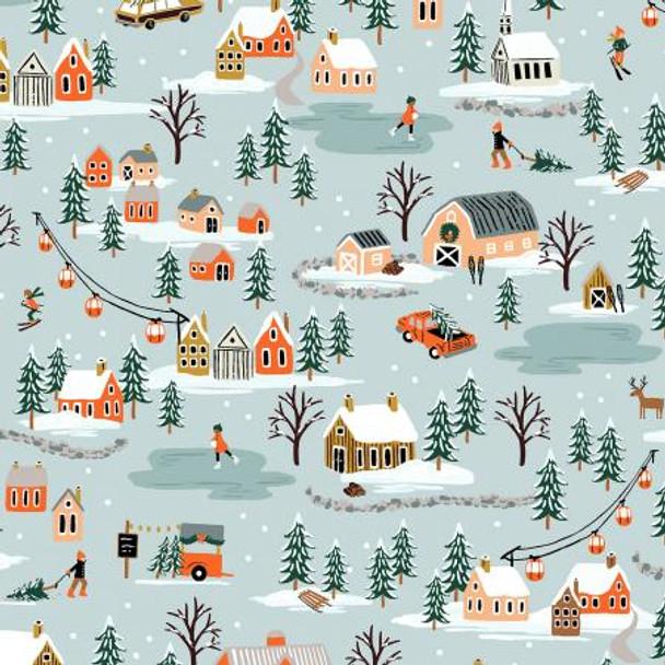 Mint Christmas Village landscape fabric - Rifle Paper Co cotton fabric
