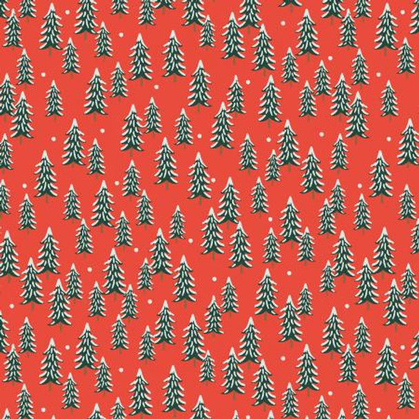 Red Fir Trees holiday fabric - Rifle Paper Holiday Classics quilt cotton