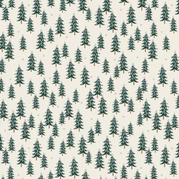 Cream Silver Fir Trees metallic fabric - Rifle Paper Holiday Classics quilt cotton