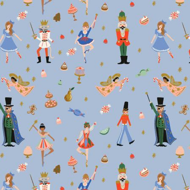 Powder Blue Land of Sweets Christmas Toys fabric - Rifle Paper Holiday Classics