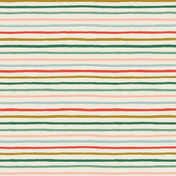Holiday Festive Stripe Metallic quilting cotton fabric - Rifle Paper Co
