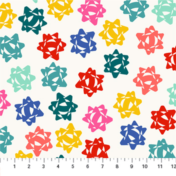 White colorful Christmas bows - FIGO Fabrics Peppermint quilt cotton