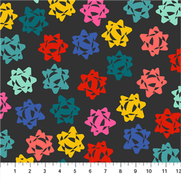 Black colorful Christmas bows - FIGO Fabrics Peppermint quilt cotton