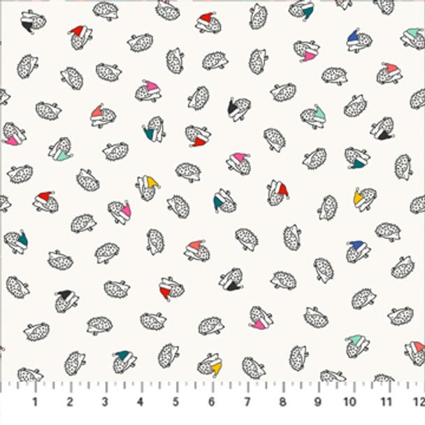 Holiday hedgehogs modern Christmas fabric - FIGO Fabrics Peppermint