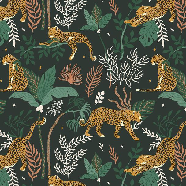 Jungle green modern leopard cotton fabric - Magic of Serengeti RJR fabrics