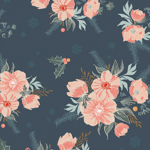 Navy holiday floral fabric - Frosted Roses Midnight AGF Cozy Magical
