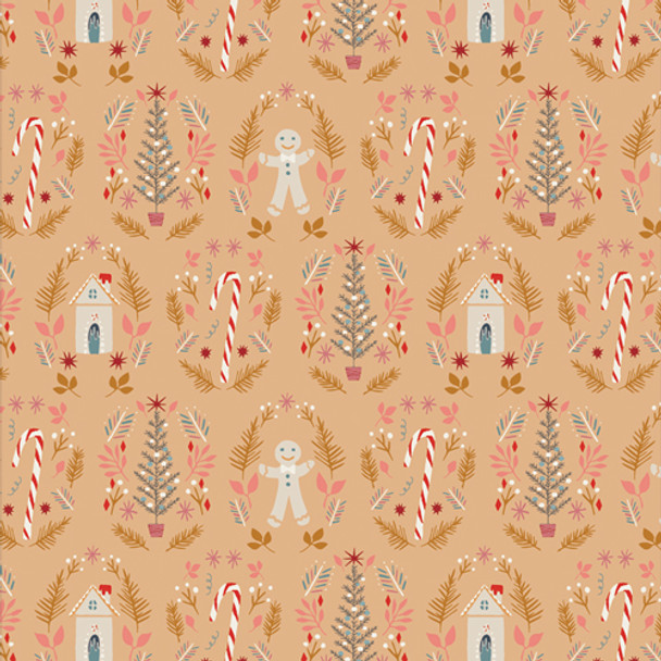 Ginger Joy Sweet - Gold mustard gingerbread floral fabric AGF Cozy Magical