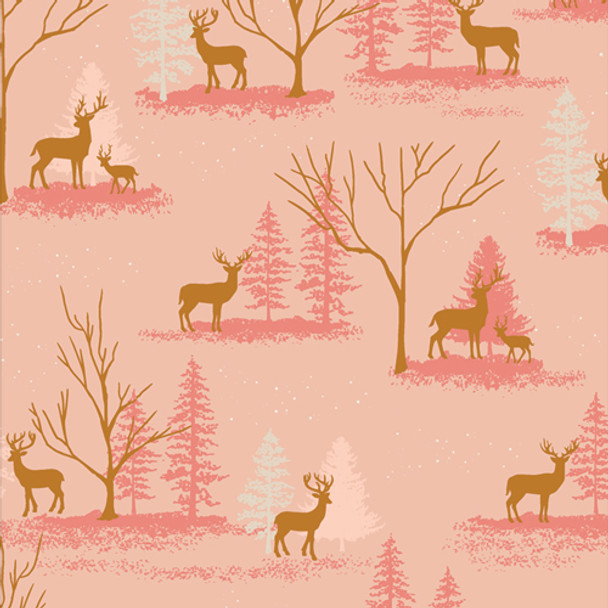 Pink Deer in Winterland cotton fabric - Cozy & Magical Art Gallery