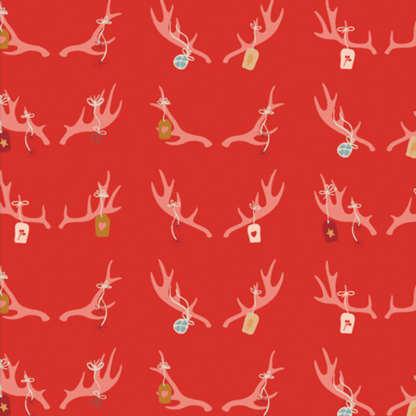 Red Deer Antler Ornaments - Cheerful Antlers holiday fabric Cozy Magical
