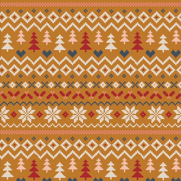 Caramel Sweater Holiday cotton fabric - Warm & Cozy Caramel