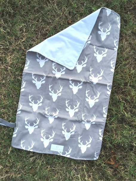 Gray Deer Silhouette Travel Changing Pad