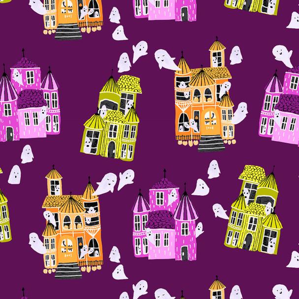 Purple Halloween Ghost house - Cotton + Steel Ghost Hosts cotton