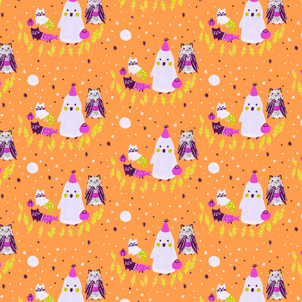 Orange Halloween trick or treaters cotton fabric Bring your Own Boos