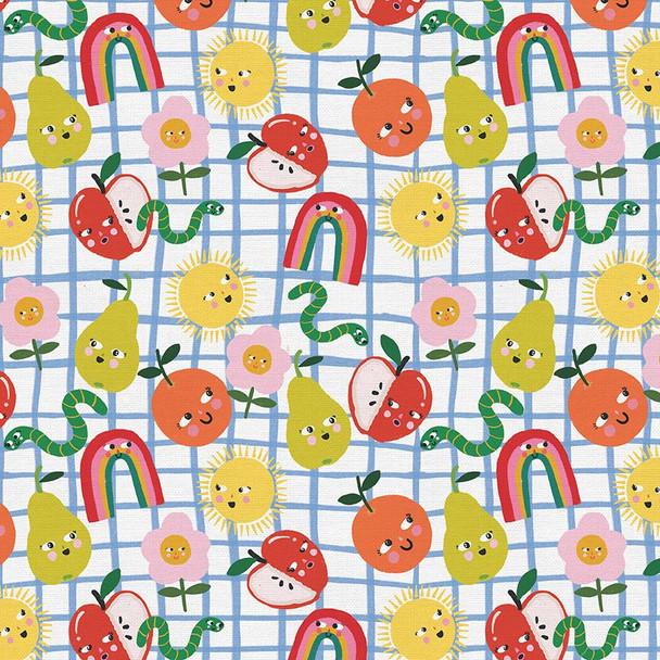 Kids Food Happy Face cotton fabric Paintbrush Studio Sunny Flowers