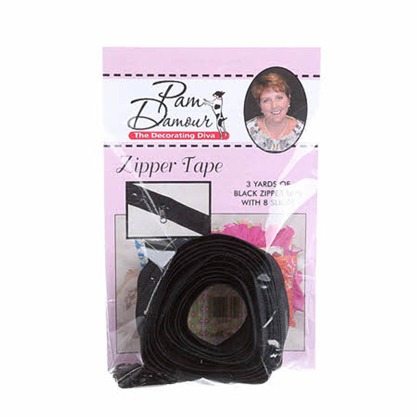 Black Reversible Coil Zipper Tape 3 yards Decorating Diva