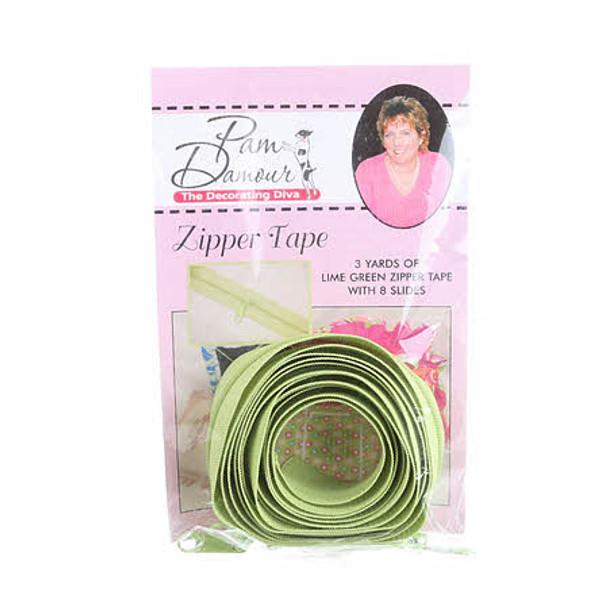 Lime Green Reversible Coil Zipper Tape 3 yards Decorating Diva
