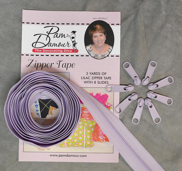Lilac Purple Reversible Coil Zipper Tape 3 yards Decorating Diva