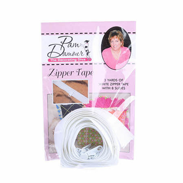 White Reversible Coil Zipper Tape 3 yards Decorating Diva
