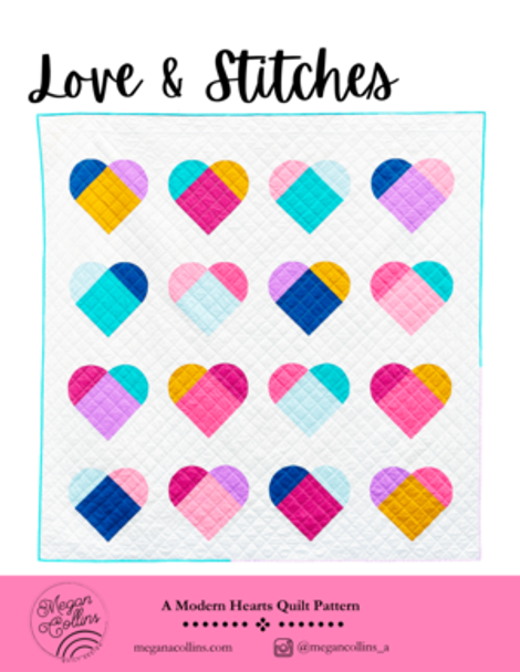 Love and Stitches Heart Quilt Pattern by Megan Collins printed quilt pattern
