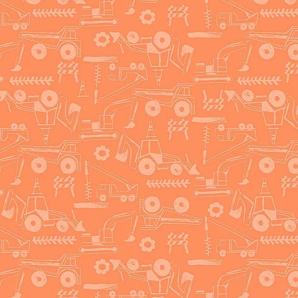 Orange construction truck equipment fabric Dear Stella Digging' It