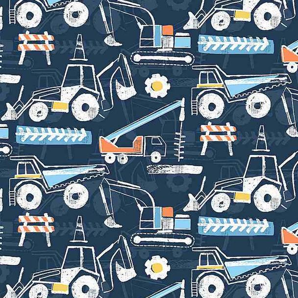 Get Loaded Navy Construction Equipment cotton fabric Dear Stella
