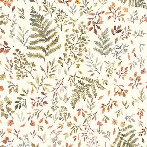 Cream Autumn Fern Leaves Floral fabric Dear Stella fall floral fabric