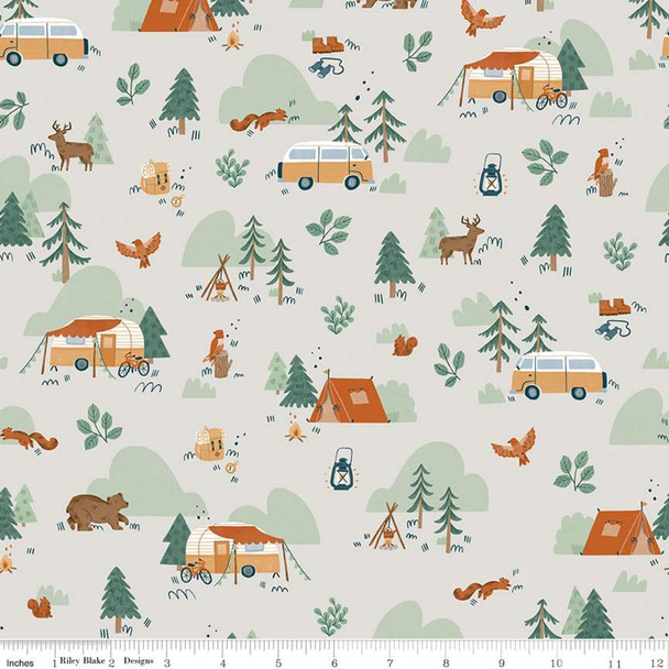 Camp Woodland white cotton fabric Riley Blake quilting cotton
