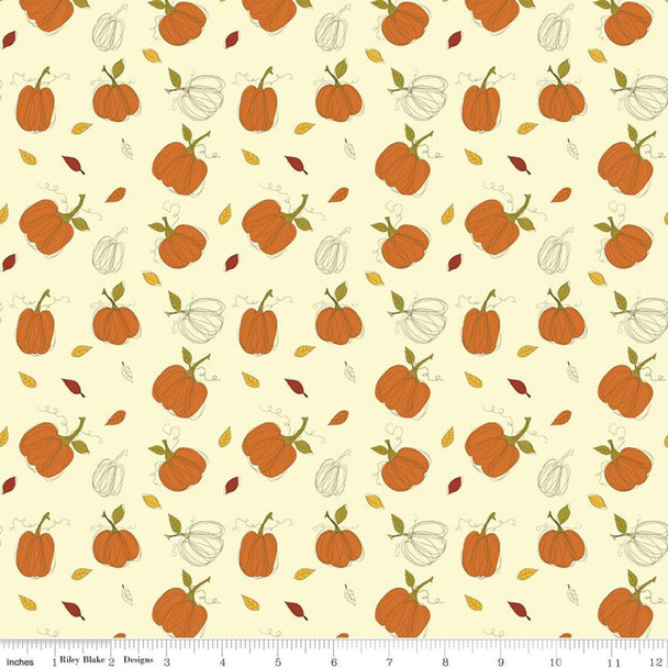 Cream Fall Pumpkin fabric Riley Blake Adel in Autumn quilt cotton