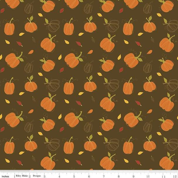 Brown Fall Pumpkin fabric Riley Blake Adel in Autumn quilt cotton
