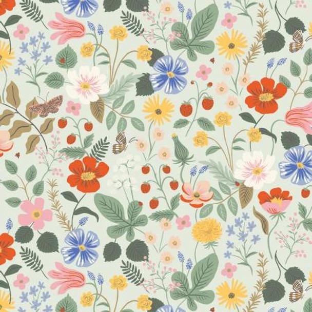 Strawberry Fields Mint cotton fabric Rifle Paper Co