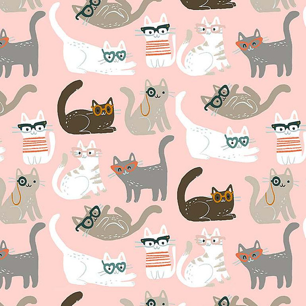Cool Cats cotton fabric - Dear Stella Vanity Fur quilt cotton QTR YD