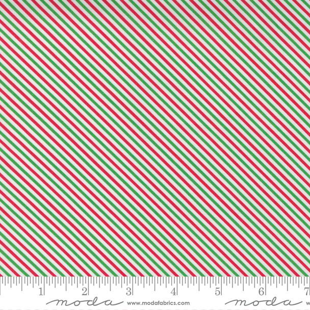 Red Green Christmas Stripe cotton fabric - Moda Fabrics cotton