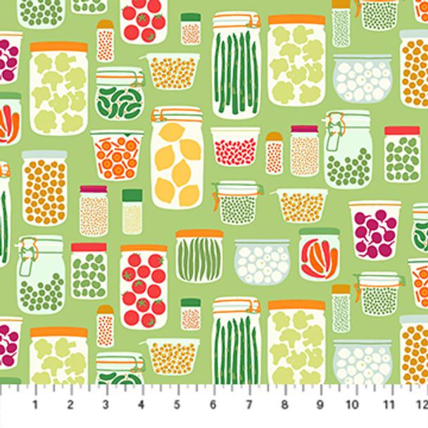 Green Vegetable Jar Fabric Figo Fabrics quilt cotton QTR YD