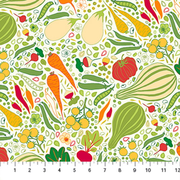 Vegetable Fabric Carrots Gardening Figo Fabrics quilt cotton QTR YD