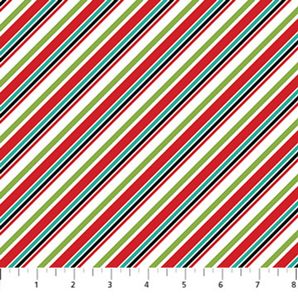 Digital Stripe Fabric, Santa Paws Collection, Northcott Fabrics Seasonal Fabric QTR YD