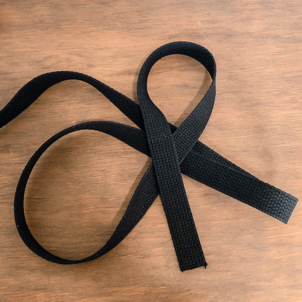 1 inch wide Cotton Webbing in black sold by the QTR YD