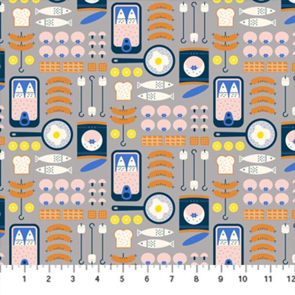 Blue Orange Camp Food cotton fabric - Around the Campfire FIGO Fabrics