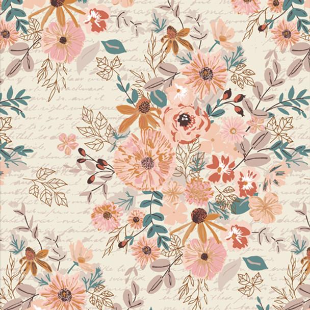 Romance Novel Paperback floral fabric - Art Gallery Fabrics Bookish