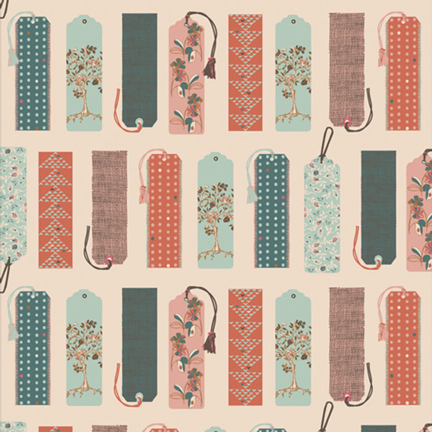 Pastel Reading Bookmarks quilt cotton - Mark My Words Bookish QTR YD