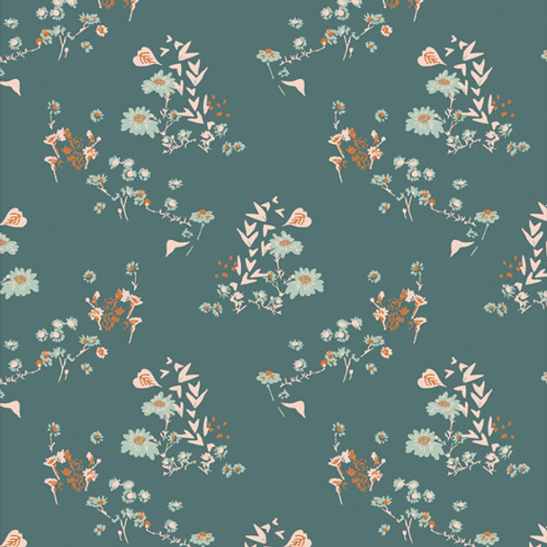 Teal Floral cotton fabric - Camomile Bliss Art Gallery Fabrics QTR YD