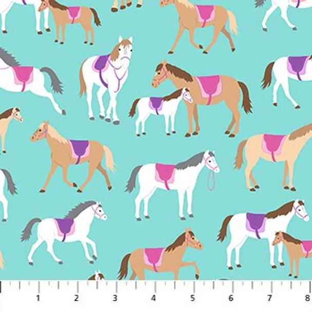 Pink Purple Horse fabric - Dreamland Northcott Fabrics quilting cottton QTR YD