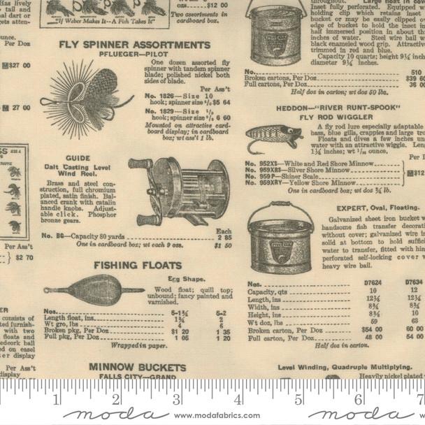 Vintage Fishing Newspaper fabric Natural Outdoorsy Moda Fabrics QTR YD